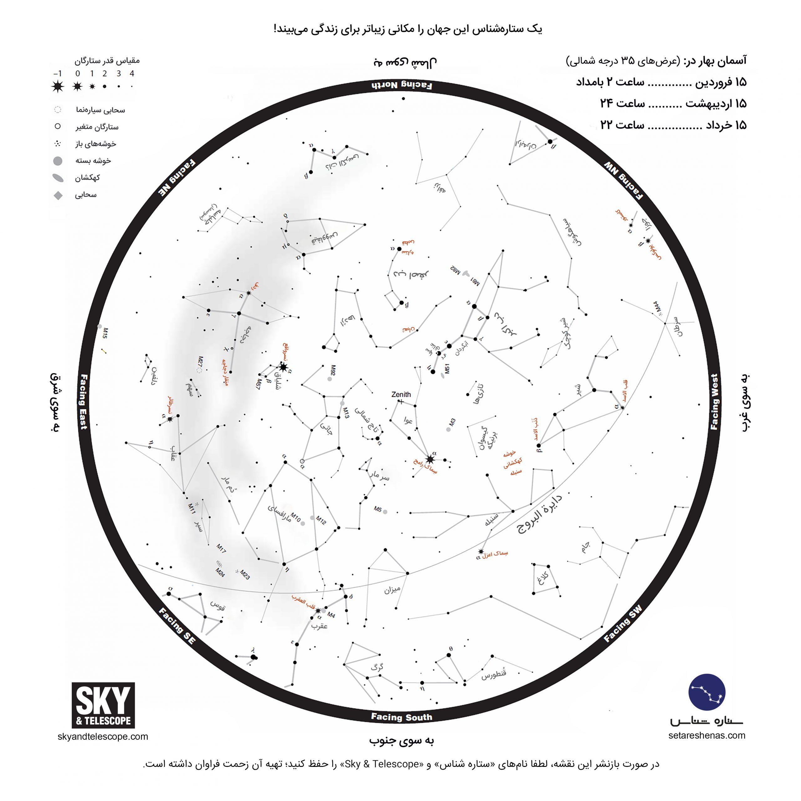 نقشه صورت های فلکی بهار