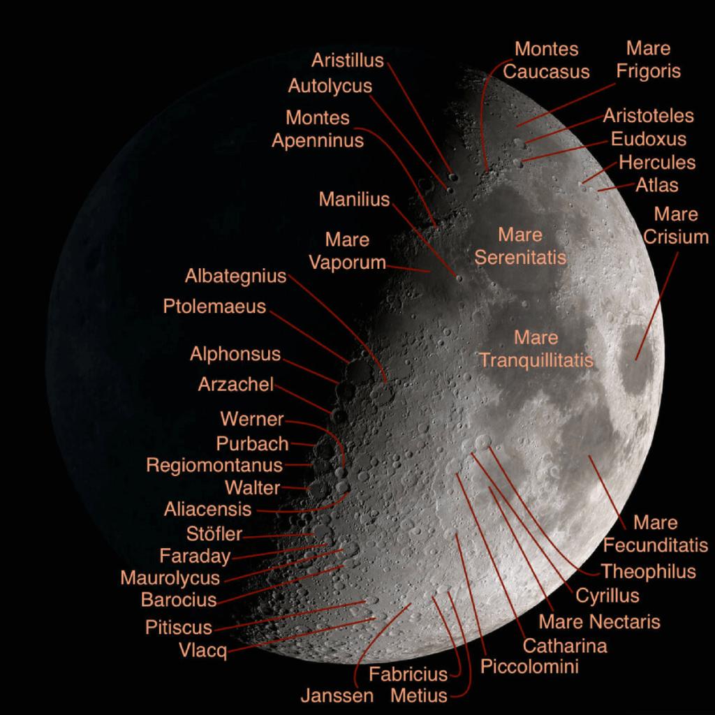 نام دهانه های ماه آموزش نجوم یادگیری نجوم توسط محمد همایونی