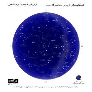نقشه آسمان شب فروردین