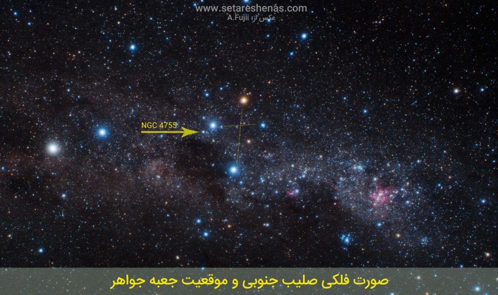 موقعیت خوشه جعبه جواهر NGC 4755